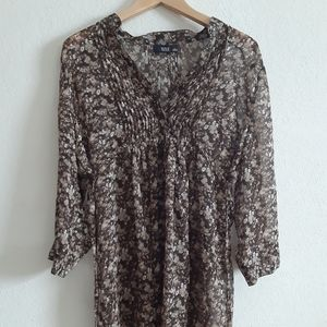 A.n.a Large  boho brown floral blouse